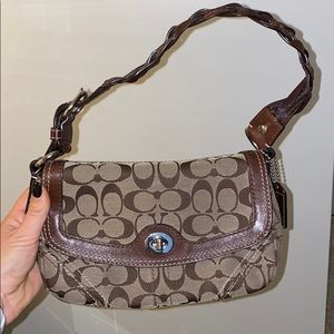 Coach shoulder purse with braided leather strap
